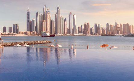 Die Skyline Dubais fotografiert von der Palm Jumeirah aus