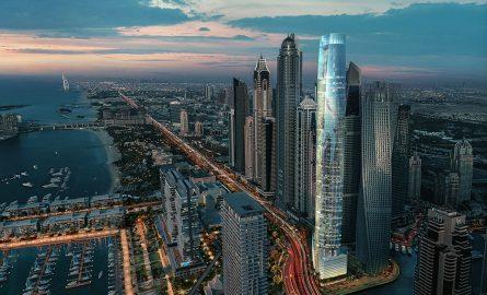 Der Ciel Tower in der Dubai Marina ist das höchste Hotel der Welt